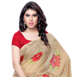 Fascinating Weightless Georgette Printed Saree in Brown and Red Colour to Bangalore