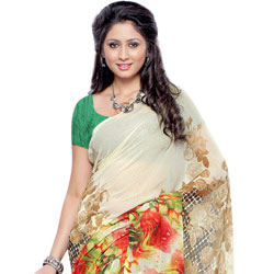 Enthralling Beige and Brown Coloured Georgette Printed Saree to Jaipur