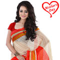 Extremely Beautiful Beige and Red Coloured Georgette Printed Saree to Hyderabad