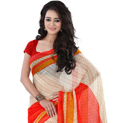 Extremely Beautiful Beige and Red Coloured Georgette Printed Saree to Jaipur
