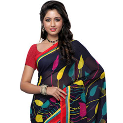 Outstanding Black and Grey Coloured Georgette Printed Saree to Bhavani