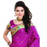 Extravagant Magenta in Colour Dupion Saree with Multi-Coloured Motifs to Porbandar