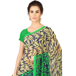 Mesmerizing Weightless Georgette Printed Saree Coloured with Black and Green to Mysore