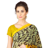 Exquisite Weightless Georgette Printed Saree Coloured with Black and Yellow to Periandipalayam