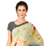 Resplendent Weightless Georgette Digital Printed Saree in Beige and Grey to Solapur