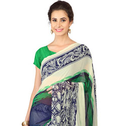 Stylish Weightless Georgette Floral Printed Saree Coloured with Green and Blue to Amritsar