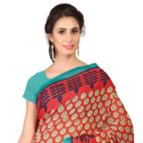 Sensational Weightless Georgette Floral Printed Saree in Red and Blue to Purulia