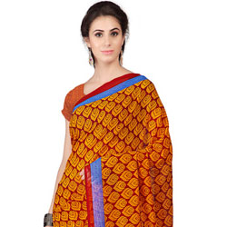 Resplendent Weightless Georgette Floral Printed Saree Coloured in Orange to Bhadrawati