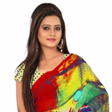 Graceful Digital Printed Georgette Saree in Multicolour to Almora