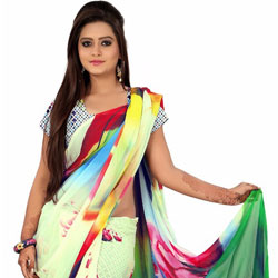 Comfy Multicoloured Digital Printed Georgette Saree to Belgaum