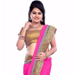 Remarkable Pink Coloured Georgette Saree to Yamunanagar