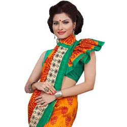Traditional Multicolour Printed Saree Made from Art Silk Fabric to Barnala