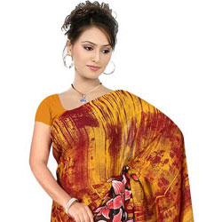 Chic Georgette Collection of Suredeal Branded Printed Georgette Saree to Hosur
