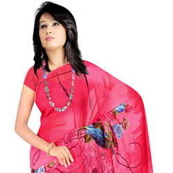 Stylish Women�s Printed Georgette Saree from Suredeal to Badgam