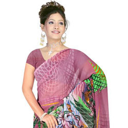 Classy Desi Style Georgette Printed Saree from Suredeal Brand to Cochin