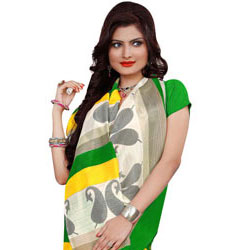 Lovely Chiffon and Crepe Rainbow Branded Saree to Hosur