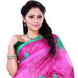 Wonderful Pink Colour Crepe Saree for Women to India
