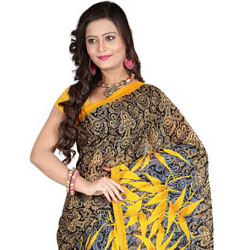Spruce Sheen Faux Georgette Saree to Anand