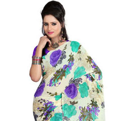 Exquisite Faux Georgette Printed Saree to Anakapalle