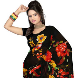 Fascinating Faux Gorgette Printed Saree to Barnala