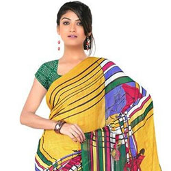 Brightening Desire Chiffon Saree to Akola