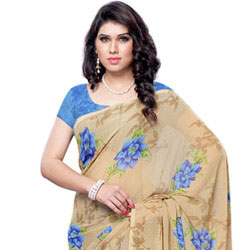 Spirited Sheen Faux Georgette Saree to Badgam