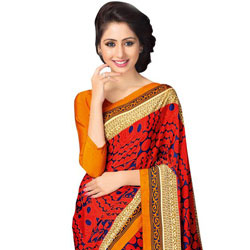 Amazing Looking Faux Crepe Saree to Badgam