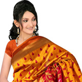 Mustard Colour Self Design Silk Sari to Purulia