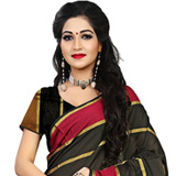 Elegant Looking Black Cotton Silk Printed Saree to Nashik