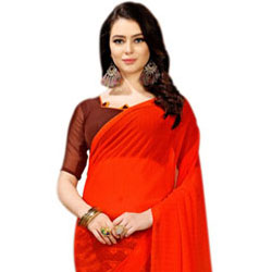 Lovely Art Chiffon Designer Red Saree for Women to Hosur