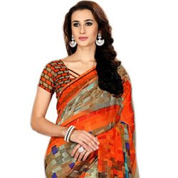 Enticing Party Wear Designer Saree in Marble Chiffon Fabric to Amritsar