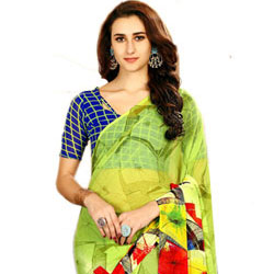 Fashionable Green Color Printed Saree in Faux Chiffon Fabric to Ghaziabad