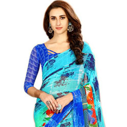Beautiful Chiffon Printed Sari for Ladies in Gorgeous Blue Color to Anantapur