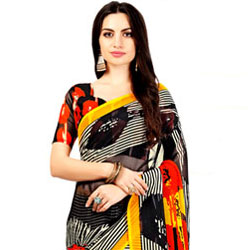 Designer Multi-color Marble Chiffon Printed Saree for Lovely Ladies to Jaipur