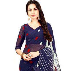 Stunning Red and Blue Polka Dot Print Saree in Chiffon Fabric to Aizwal