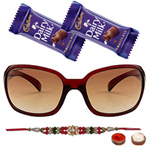 Amazing Oval Shaped Sunglasses with a Maroon Grey Body from <b>Fastrack</b> for Men with One Rakhi and Chocolates and Roli Tilak Chawal to Cochin