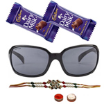 Appealing Hot Summer Gents Sunglasses from <b>Fastrack</b> with One Rakhi and Chocolates and Roli Tilak Chawal to Amravati