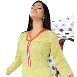Refreshing Yellow Cotton Salwar Kameez  to Ghaziabad