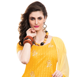 Charming Chiffon Cotton Embroidered Salwar Kameez in Yellow Colour to Bhubaneswar