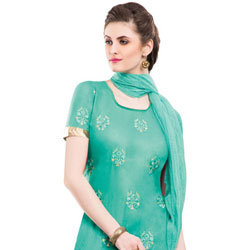 Extravagant Green Coloured Chiffon Cotton Embroidered Salwar Kameez to Puzhal