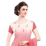 Rocking Red and Cream Coloured Chiffon Embroidered Salwar Kameez to India