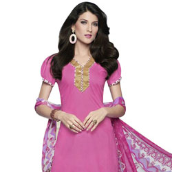 Wonderful Pink Coloured Pure Cotton Patiala Suit to Agra