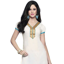Comfy White Coloured Pure Cotton Printed Patiala Suit to Bangalore