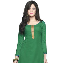 Graceful Pure Cotton Patiala Suit in Deep Green to Bhavani
