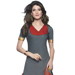 Trendy Cotton Printed Patiala Suit Grey and Red in Colour to Aquem