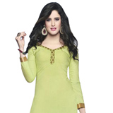 Wonderfully Coloured in Light Green Cotton Printed Patiala Suit to Athani