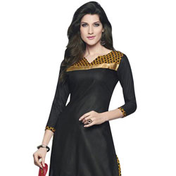 Impressively Coloured in Black and Yellow Cotton Printed Patiala Suit to Bhadrawati