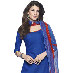 Wonderfully Coloured in Blue and Red Cotton Printed Patiala Suit to Bhadrawati