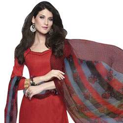 Attractively Coloured in Red and Maroon Cotton Printed Patiala Suit to Bhadrawati