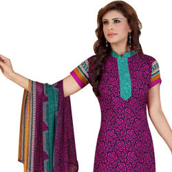 Flattering Siya Chiffon and Crepe Salwar Suit in Printed Design to Bangalore
